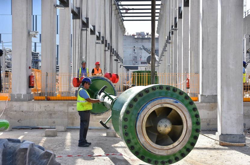 The installation of 10-metre long shafts for the 13 vertical turbine pumps is underway now. Each pump is designed to move one tonne of water per second. (Click to view larger version...)