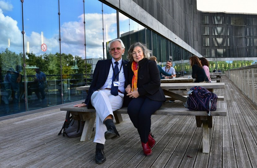 Gérard Mourou, here with his wife on the terrace of the ITER cafeteria, responded to the invitation of ITER physicist Greg de Temmerman. ''Very, very impressive,'' he commented after visiting the ITER construction site. (Click to view larger version...)