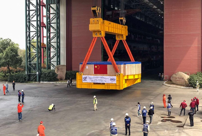 The 400-tonne component will travel by barge on the Yangtze River to Shanghai, and then by ocean transport to Fos-sur-Mer harbor in France. (Click to view larger version...)