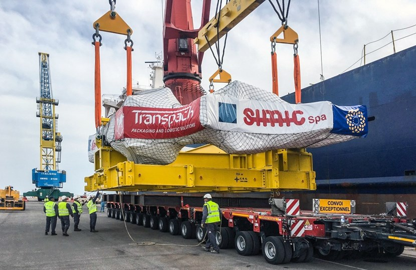 The 420-tonne load arrived from Italy in the evening of 17 March and was unloaded the following afternoon. Ensuring its safe delivery has come with many daunting challenges. Photo DAHER (Click to view larger version...)