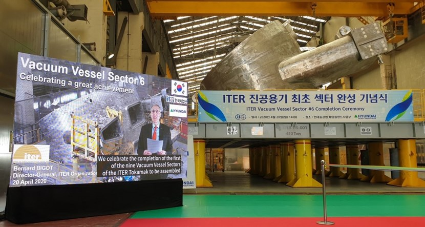Due to worldwide travel restrictions, ITER Director-General Bernard Bigot participated in the ceremony 20 April by video conference. (Click to view larger version...)