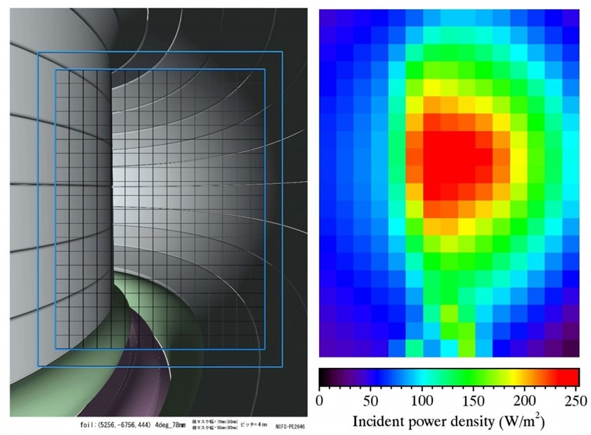 Figures showing a CAD image of a 300-channel imaging bolometer viewing the ITER torus (left), and an image from the bolometer showing the estimated signal levels (right). (Click to view larger version...)