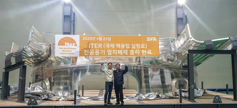Korean contractor SFA has manufactured the thermal shield panels for all nine vacuum vessel sectors. In this view of sector #2 panels, cooling tubes are visible on the component's silver-coated surface. (Click to view larger version...)