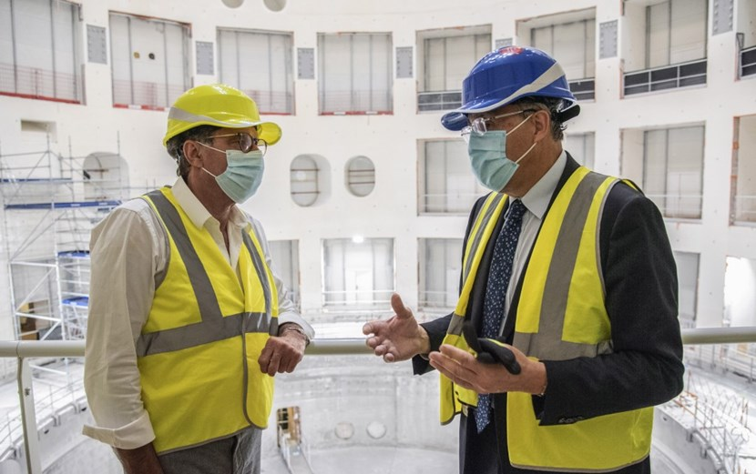 President of the Sud-PACA region and France's former Under-Secretary for Foreign Affairs, Renaud Muselier (left) toured the Tokamak Building with ITER Director-General Bernard Bigot (right). He expressed his pride in hosting ITER in Provence: ITER ''is a jewel,'' he said, ''a world-class asset with few equivalents on this planet.'' (Click to view larger version...)
