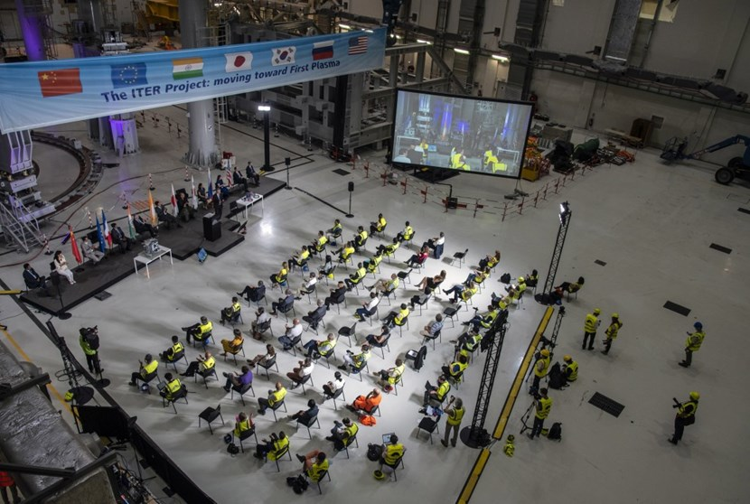 Due to the current pandemic, the crowd in the ITER Assembly Hall was small. But thanks to live broadcasting and video connection the audience was global. (Click to view larger version...)