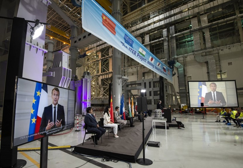 Organized in the ITER Assembly Hall, the kick-off ceremony was virtually hosted by President Emmanuel Macron of France. ''ITER is clearly an act of confidence in the future,'' he said. ''At its core is the conviction that science can truly make tomorrow better than today.'' Photo: Pierre Genevier-Tarel - ITER Organization (Click to view larger version...)