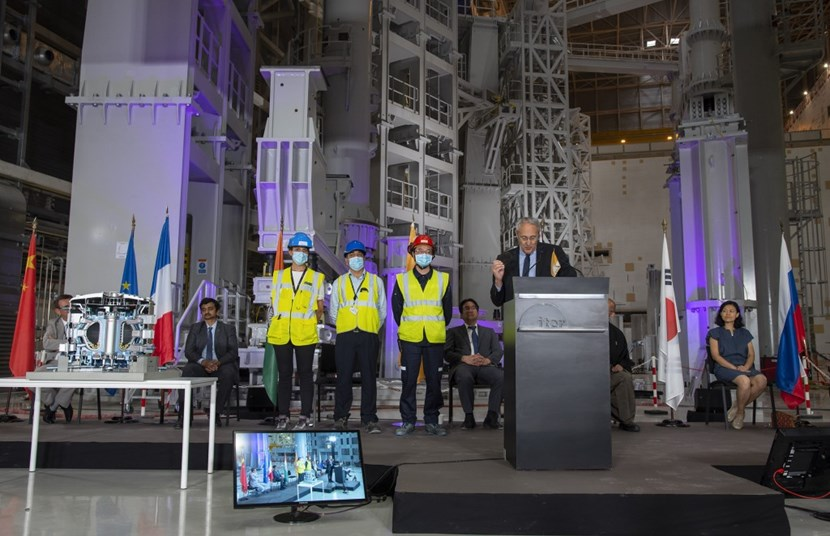 As a token of gratitude to the ITER workforce, and to commemorate the start-of-assembly celebration, the three engineers will have their names inscribed on a nanoform disk (synthetic sapphire) along with the Member statements and a selection of photos. The disk will be attached to the ITER Tokamak Building to serve as an enduring record for those who will retrieve it when ITER has achieved its purpose and completed its mission ... (Click to view larger version...)