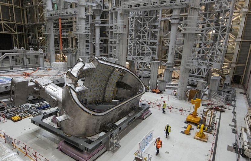 Beyond its alien shape and its awesome mission, this unique industrial object carries a strong symbolic dimension. It will stand at the core of the first 1,200-tonne pre-assembly to be installed into the assembly pit. (Click to view larger version...)