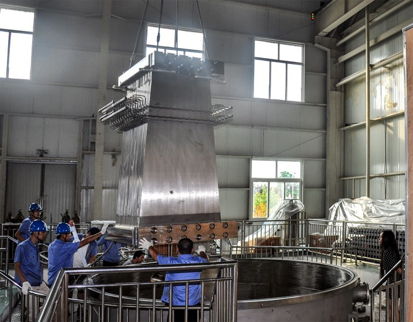 Before shipment, the toroidal field gravity supports were tested for leak tightness in a vacuum chamber in China. (Click to view larger version...)