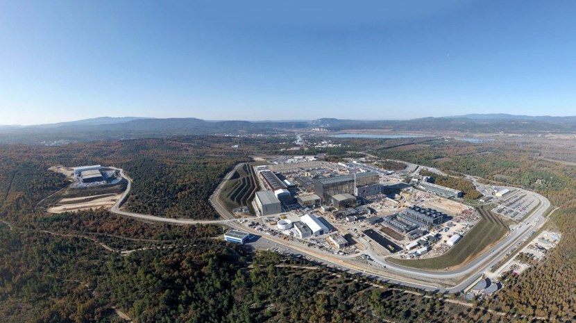 Looking over the main ITER site and an auxiliary storage platform (left) from a northeastern angle. One of the four tall cranes that had stood over the Tokamak Building has now been dismantled. Photo: ITER Organization/EJF Riche (Click to view larger version...)