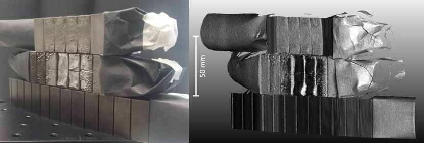 Left: A photo of damaged divertor blocks (from ITER prototype components) inspected by the in-vessel viewing system. Right: the system view + 3D metrology data of the same part. Details of damage such as tile swelling, melting and cracking can be clearly detected. © Fusion for Energy (Click to view larger version...)