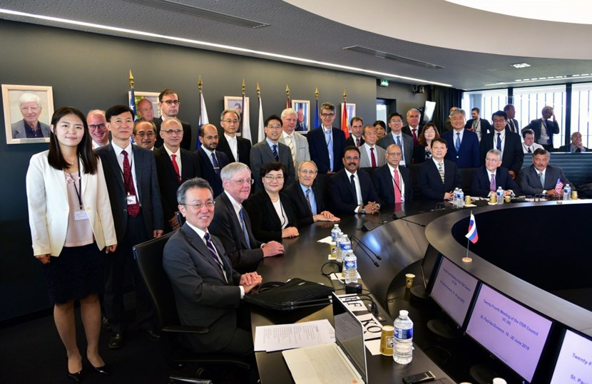 Senior representatives from the seven ITER Members—China, the European Union, India, Japan, Korea, Russia, and the United States—gather for the twenty-fourth meeting of the ITER Council on 19-20 June 2019 under the chairmanship of Arun Srivastava from India. (Click to view larger version...)