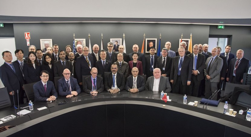 Senior representatives from the seven ITER Members—China, the European Union, India, Japan, Korea, Russia, and the United States—gather for the Twenty-Fifth meeting of the ITER Council on 20-21 November 2019 under the chairmanship of Arun Srivastava from India. The Twenty-Sixth meeting, under the chairmanship of LUO Delong from China, took place from 17 to 18 June 2020 by videoconference due to the global COVID-19 pandemic. (Click to view larger version...)