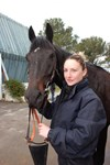 Between races, Iter-the-horse has his home in the Cabriès Training Grounds, some 15 kilometres north of Aix-en-Provence. He is shown here with Alexia, who rides him every morning.