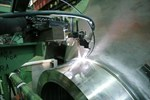 Welding between the shells of a spent fuel container. Photo: ENSA