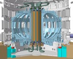 The central solenoid (in orange and green), the backbone of ITER's magnet system. Copyright: ITER Organization