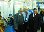 The first unit length of superconducting cable for ITER's poloidal field coil #6 will be manufactured by JSC VNIIKP and shipped to the jacketing supplier in Europe in July. From left to right: Eugen Bratu, EU-DA; Vitaly Vysotsky, Director of the VNIIKP Podolsk Office; and Sergey Lelekhov, DA Technical Responsible Officer.