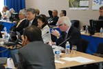 ITER Deputy Director-General Remmelt Haange (foreground) explaining the new strategic approaches. Next to him are Council Secretary Sachiko Ishizaka, MAC Chairman Gyung-Su Lee and Director-General Osamu Motojima.