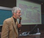 "Martin Wilson during his ""Inside ITER"" talk this week, which highlighted the achievements of a century of superconconductivity."