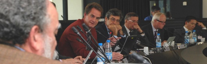Debating the tungsten issue (from left): Head of the Plasma Operations Directorate, David Campbell; STAC Secretary Alberto Loarte; Head of the Internal Components Division, Mario Merola; Head of the Divertor and Plasma-Wall Interactions Section, Richard Pitts; and STAC Chairman Joaquín Sánchez.